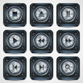 Application icons vector set a of metallic interface Stock Photography