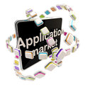 Application market emblem icon as a pad screen isolated on white Royalty Free Stock Photo