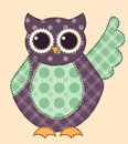 Application owl cartoon patchwork illustration for a scrapbooking Royalty Free Stock Images