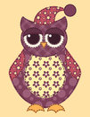 Application owl cartoon patchwork illustration for a scrapbooking Stock Images