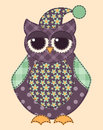 Application owl cartoon patchwork illustration for a scrapbooking vector Royalty Free Stock Photos
