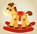 Application rocking horse cartoon illustration for children Royalty Free Stock Image