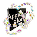 Application store emblem icon as a pad screen isolated on white Royalty Free Stock Images