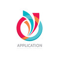 Application - vector business logo concept illustration. Colored ring with abstract shapes. Positive geometric sign in optimism. Royalty Free Stock Photo