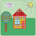 The applikator of tessue house illustration sewn from fabric plaid different colors a little tree sun and clouds Royalty Free Stock Images