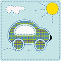 Applique from fabric children s picture machine sewn plaid Stock Image