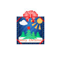 Applique fabric for christmas colorful card handmade homemade crafts lessons with children Royalty Free Stock Photos
