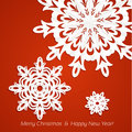 Applique snowflakes Christmas card on red Stock Photos