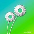 Applique white flower gears dandelion cogwheels origami paper cut style vector background Royalty Free Stock Image