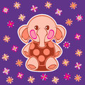 Appliqued with cartoon elephant the illustration shows the applique pattern on the background flowers illustration done on Royalty Free Stock Photo