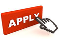 Apply online button in red with a hand icon trying to click it on white background red Stock Photography