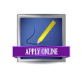 Apply online glossy blue reflected square button illustration design Royalty Free Stock Photo