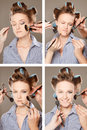 Applying make-up Stock Photography