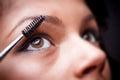 Applying mascara make up concept Royalty Free Stock Images