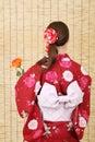 Appoggi il punto di vista di giovane donna asiatica Immagini Stock