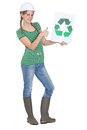 Apprentice holding recycling logo Stock Photo