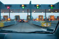 Approaching the toll booth on afternoon Royalty Free Stock Photography