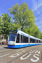 Approaching tram in Amsterdam Old Town Royalty Free Stock Photo
