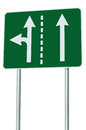 Appropriate traffic lanes at crossroads junction, left turn exit ahead, isolated green road sign, white arrows, EU european Royalty Free Stock Photo