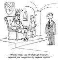 Approve expense reports business cartoon about finance the king just assumed his would be approved Royalty Free Stock Images