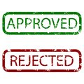 Approved and rejected stamp texture colored Royalty Free Stock Photo