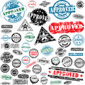 Approved rubber stamps collection Stock Photos