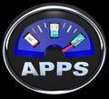 Apps fuel gauge measures applications in smart phone a the amount of your with the needle pointing to a mobile or other device Stock Photo