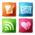 Apps icon set with the effect of watercolors Royalty Free Stock Images
