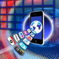 Apps on a secure mobile wireless network Stock Photo