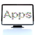 Apps word icons on television screen a hdtv with the made of application tile Stock Image