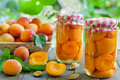 Apricot compote with fresh apricots in the basket Royalty Free Stock Photography