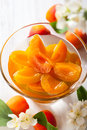 Apricot compote fresh in glass bowl Royalty Free Stock Photo