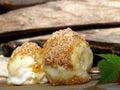 Apricot dumplings napricot with cinnamon sugar n Stock Image