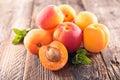 Apricot fresh on wood background Royalty Free Stock Image