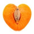Apricot fruit slice shape as heart Royalty Free Stock Photo