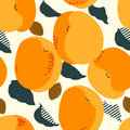 Apricot fruits seamless pattern. Fresh apricots, leaves, stones Royalty Free Stock Photo