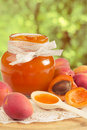 Apricot jam in a glass jar Stock Photography