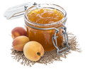 Apricot jam isolated on white background Stock Photos
