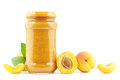Apricot jam jar of fresh with apricots on white Stock Images