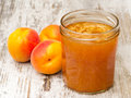 Apricot Jam Jar with Fruit Stock Photography