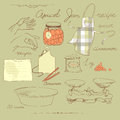 Apricot jam recipe vector vintage set on a culinary theme Stock Photos