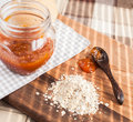 Apricot jam with spoon Royalty Free Stock Photo