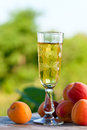 Apricot liquor and fruits on wooden table Stock Images