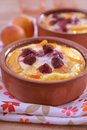 Apricot and raspberry clafoutis in a baking dish Stock Images