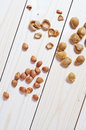 Apricot seeds and shells Stock Image