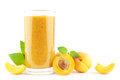 Apricot smoothie fresh with apricots on white Royalty Free Stock Photography
