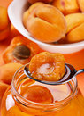 Apricot in spoon Stock Photography