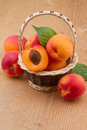 Apricot in wicker basket on wooden background Stock Photo