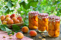Apricote compote jars with apricot and apricot fruit Royalty Free Stock Images