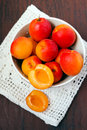 Apricots in a bowl fresh washed Royalty Free Stock Photo